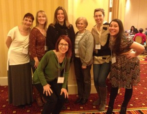 One of the best parts of any conference is hangin' with my Girlls. The Girllustrators: LuzMarie Iturbe, Shelley Jackson, Lalena Fisher, Patrice Barton, Amy Farrier and Marsha Riti, with uber-awesome (girl)illustrator Kelly Murphy (center, in black).